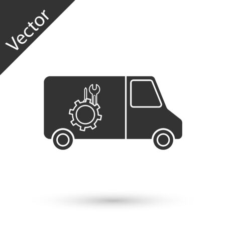 Grey Car service icon isolated on white background. Repair service auto mechanic. Maintenance sign. Vector Illustration