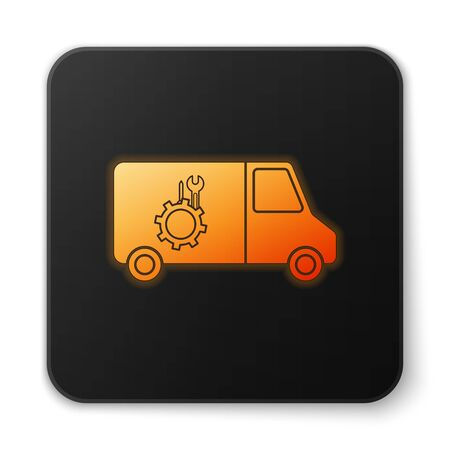 Orange glowing neon Car service icon isolated on white background. Repair service auto mechanic. Maintenance sign. Black square button. Vector Illustration