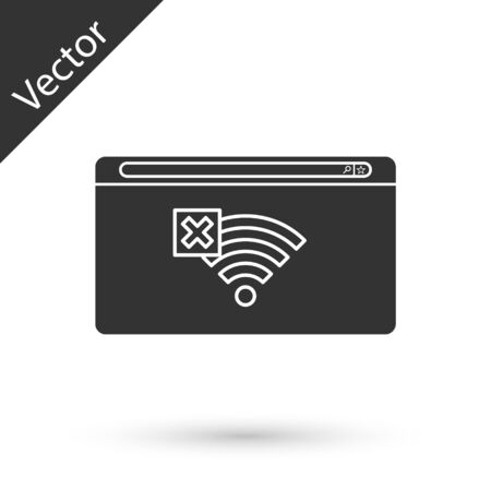 Grey No Internet connection icon isolated on white background. No wireless sign for remote internet access. Vector Illustration