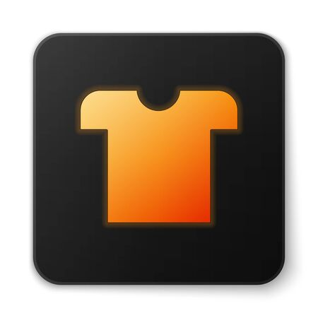 Orange glowing neon T-shirt icon isolated on white background. Black square button. Vector Illustration
