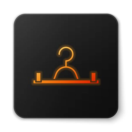 Orange glowing neon Hanger wardrobe icon isolated on white background. Cloakroom icon. Clothes service symbol. Laundry hanger sign. Black square button. Vector Illustration
