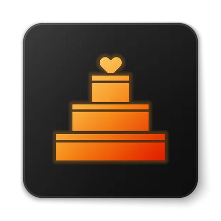 Orange glowing neon Wedding cake with heart icon isolated on white background. Valentines day symbol. Black square button. Vector Illustration