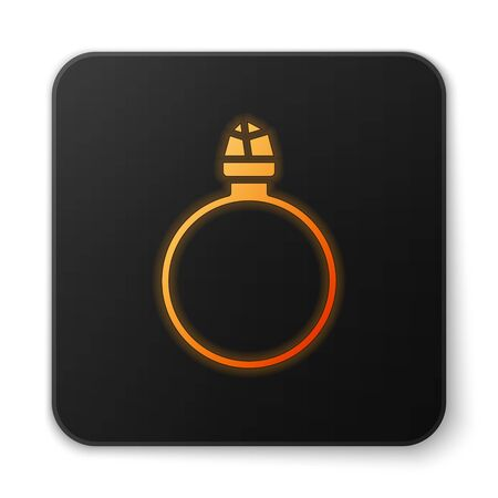 Orange glowing neon Diamond engagement ring icon isolated on white background. Black square button. Vector Illustration