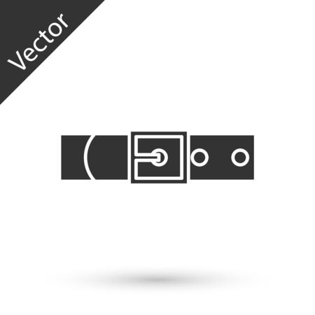 Grey Leather belt with buttoned steel buckle icon isolated on white background. Vector Illustration Çizim