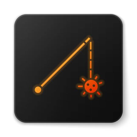 Orange glowing neon Medieval chained mace ball icon isolated on white background. Medieval weapon. Black square button. Vector Illustration Illustration