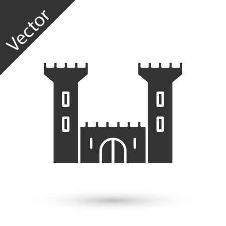 Grey Castle icon isolated on white background. Fortress sign. Vector Illustration