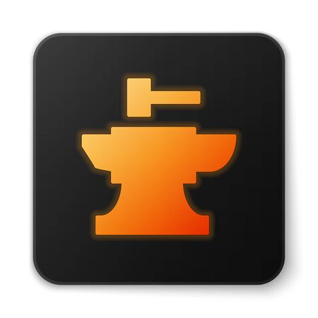 Orange glowing neon Anvil for blacksmithing and hammer icon isolated on white background. Metal forging. Forge tool. Black square button. Vector Illustration