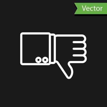 Weiße Linie Abneigung Symbol auf schwarzem Hintergrund isoliert. Vektorillustration