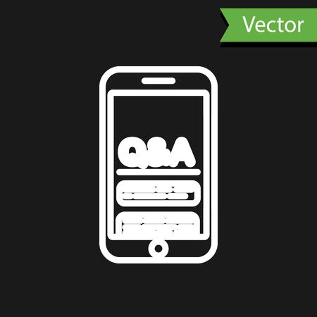 White line Mobile phone with Question and Exclamation icon isolated on black background. Frequently asked questions. Vector Illustration