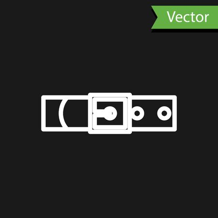 White line Leather belt with buttoned steel buckle icon isolated on black background. Vector Illustration Çizim