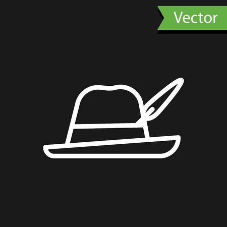 White line Oktoberfest hat icon isolated on black background. Hunter hat with feather. German hat. Vector Illustration