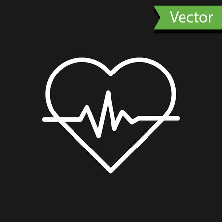 White line Heart rate icon isolated on black background. Heartbeat sign. Heart pulse icon. Cardiogram icon. Vector Illustration