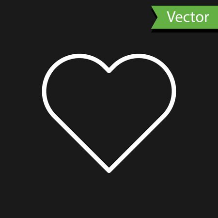White line Heart icon isolated on black background. Romantic symbol linked, join, passion and wedding. Valentine day symbol. Vector Illustration