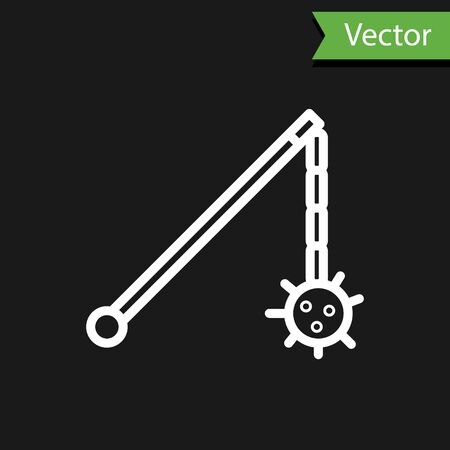 White line Medieval chained mace ball icon isolated on black background. Medieval weapon. Vector Illustration Ilustrace