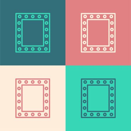 Color line Makeup mirror with lights icon isolated on color background. Vector Illustration Stock Illustratie