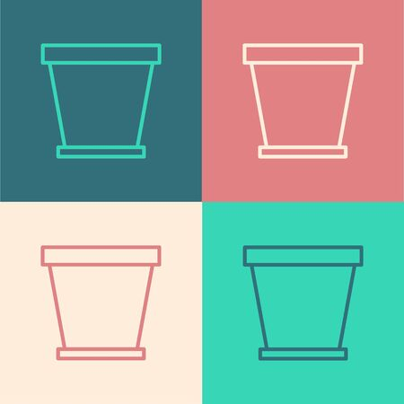 Color line Flower pot icon isolated on color background. Vector Illustration