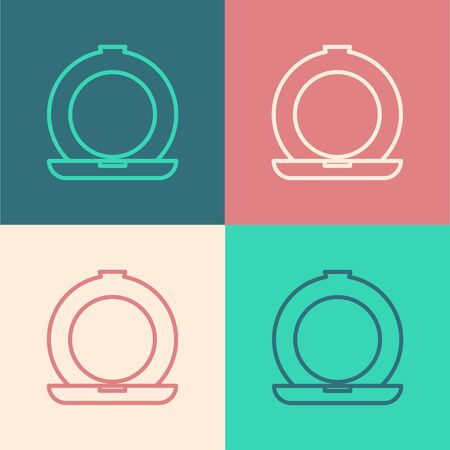 Color line Makeup powder with mirror icon isolated on color background. Vector Illustration