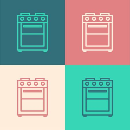 Color line Oven icon isolated on color background. Stove gas oven sign.  Vector Illustration
