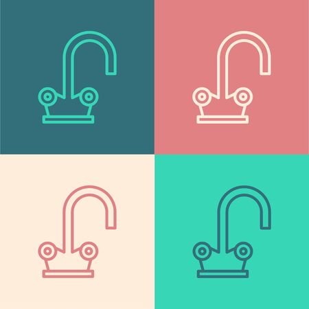 Color line Water tap icon isolated on color background. Vector Illustration