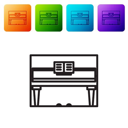 Black line Grand piano icon isolated on white background. Musical instrument. Set icons in color square buttons. Vector Illustration Vettoriali