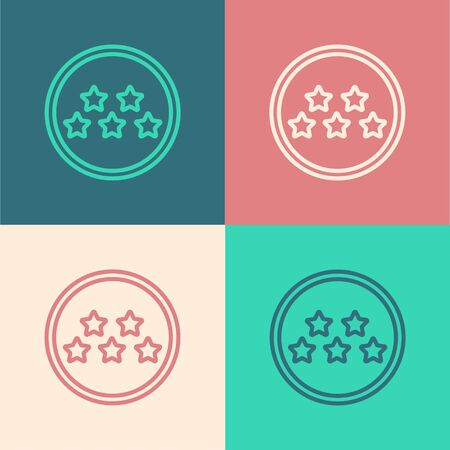 Color line Five stars customer product rating review icon isolated on color background. Favorite, best rating, award symbol. Vector Illustration 向量圖像