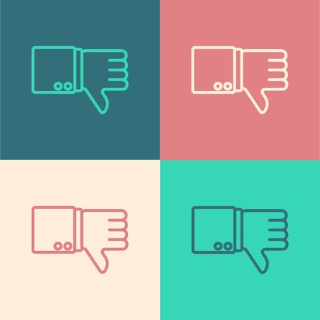 Color line Dislike icon isolated on color background. Vector Illustration Illustration