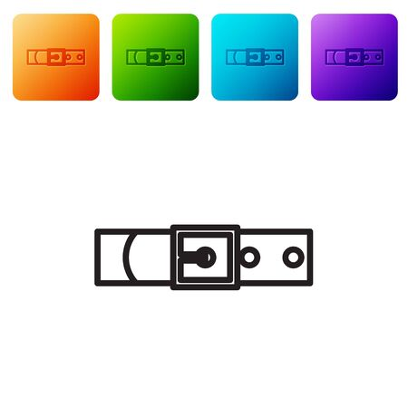 Black line Leather belt with buttoned steel buckle icon isolated on white background. Set icons in color square buttons. Vector Illustration Çizim