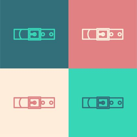 Color line Leather belt with buttoned steel buckle icon isolated on color background. Vector Illustration Çizim