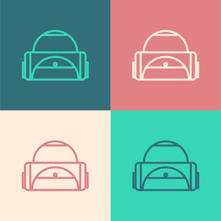 Color line Sport bag icon isolated on color background. Vector Illustration