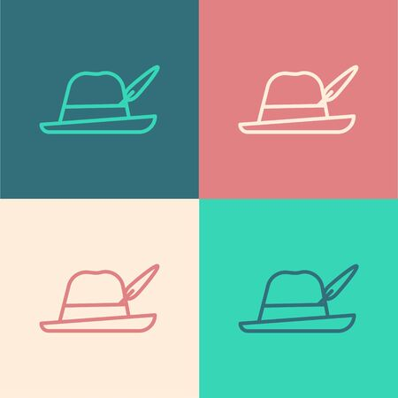 Color line Oktoberfest hat icon isolated on color background. Hunter hat with feather. German hat. Vector Illustration