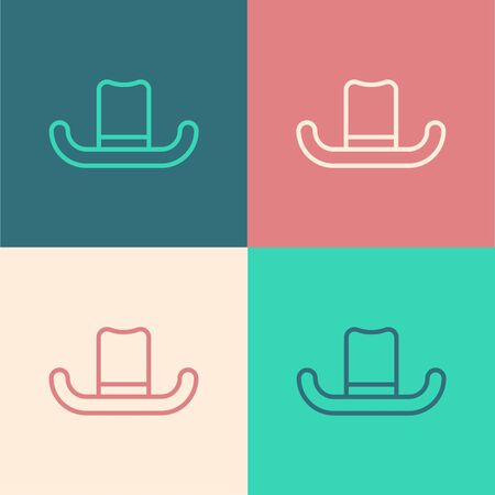 Color line Man hat with ribbon icon isolated on color background. Vector Illustration Stock Illustratie