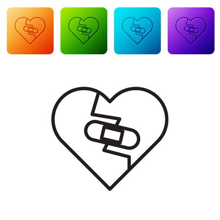 Black line Healed broken heart or divorce icon isolated on white background. Shattered and patched heart. Love symbol. Valentines day. Set icons in color square buttons. Vector Illustration Ilustração