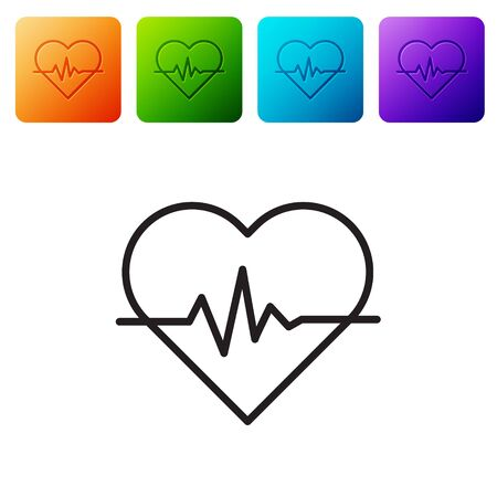 Black line Heart rate icon isolated on white background. Heartbeat sign. Heart pulse icon. Cardiogram icon. Set icons in color square buttons. Vector Illustration