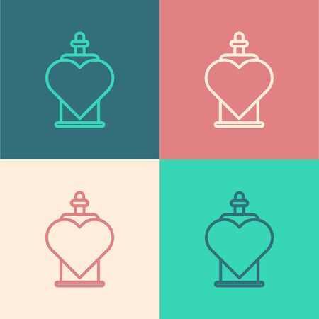 Color line Bottle with love potion icon isolated on color background. Valentines day symbol. Vector Illustration Illustration
