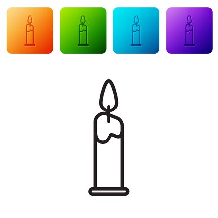 Black line Burning candle in candlestick icon isolated on white background. Cylindrical candle stick with burning flame. Set icons in color square buttons. Vector Illustration Imagens - 137796649