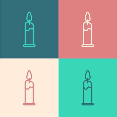 Color line Burning candle in candlestick icon isolated on color background. Cylindrical candle stick with burning flame. Vector Illustration