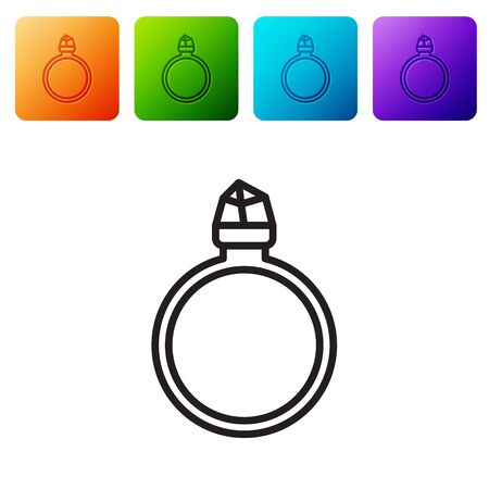 Black line Diamond engagement ring icon isolated on white background. Set icons in color square buttons. Vector Illustration