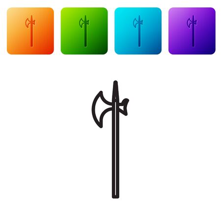 Black line Medieval halberd icon isolated on white background. Medieval weapon. Set icons in color square buttons. Vector Illustration