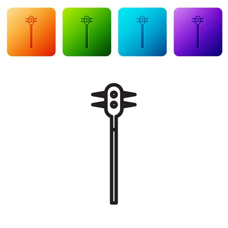 Black line Medieval chained mace ball icon isolated on white background. Medieval weapon. Set icons in color square buttons. Vector Illustration
