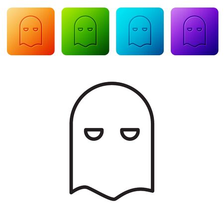 Black line Executioner mask icon isolated on white background. Hangman, torturer, executor, tormentor, butcher, headsman icon. Set icons in color square buttons. Vector Illustration