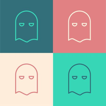Color line Executioner mask icon isolated on color background. Hangman, torturer, executor, tormentor, butcher, headsman icon. Vector Illustration