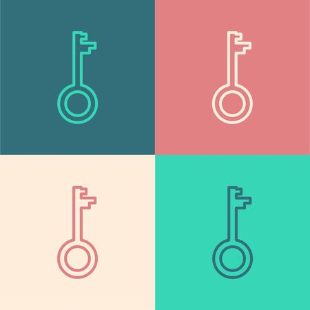 Color line Old key icon isolated on color background. Vector Illustration