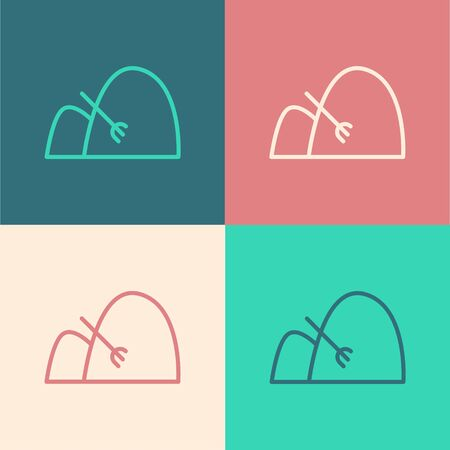 Color line Bale of hay and rake icon isolated on color background. Vector Illustration Vettoriali