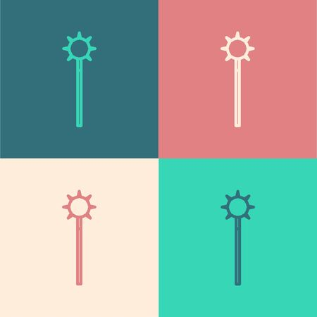 Color line Medieval chained mace ball icon isolated on color background. Medieval weapon. Vector Illustration
