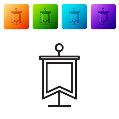 Black line Medieval flag icon isolated on white background. Country, state, or territory ruled by a king or queen. Set icons in color square buttons. Vector Illustration