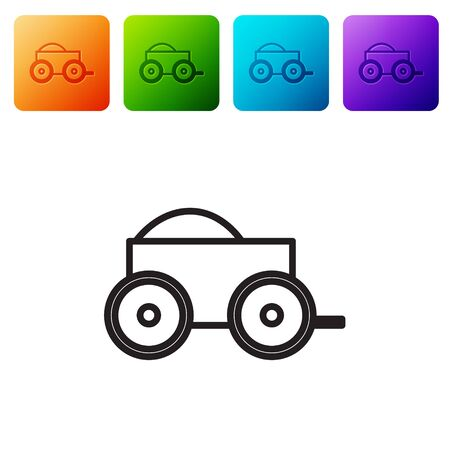 Black line Wooden four-wheel cart with hay icon isolated on white background. Set icons in color square buttons. Vector Illustration