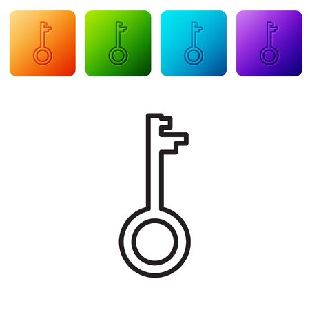 Black line Old key icon isolated on white background. Set icons in color square buttons. Vector Illustration Ilustrace