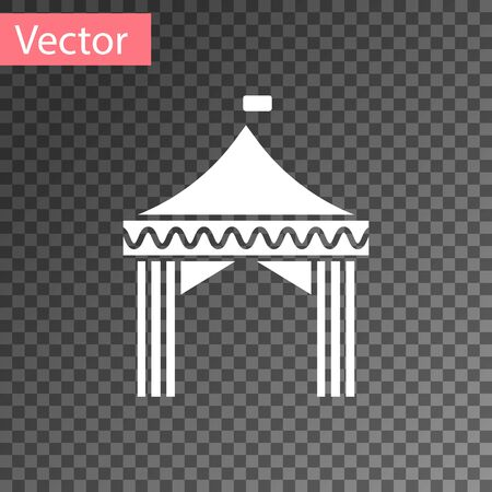 White Camping tent icon isolated on transparent background. Carnival camping tent. Amusement park.  Vector Illustration
