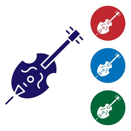 Blue Violin icon isolated on white background. Musical instrument. Set color icons in circle buttons. Vector Illustration