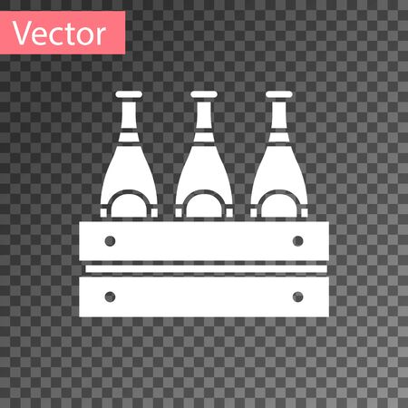 White Pack of beer bottles icon isolated on transparent background. Wooden box and beer bottles. Case crate beer box sign. Vector Illustration